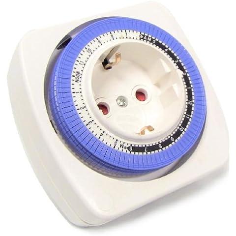 Cablematic - Programador eléctrico mecánico diario tipo enchufe compacto