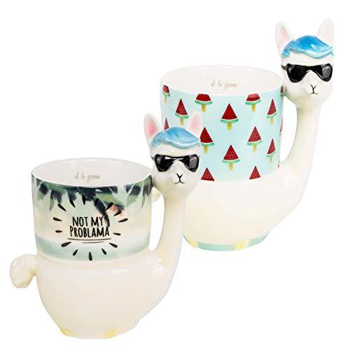 el & groove Lama 3D Tassen Set, Wassermelone & Not My Problama Beach Design, Kaffeetassen 400 ml (450 ml randvoll) im 2er Set, Sonnebrille Sunglasses Alpaka Tasse, Deko Geschenkidee