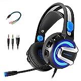 PHOINKAS Kopfhörer Gaming Headset für PS4, Xbox One, PC, Switch Nintendo mit Mikrofon (Schwarz und Blau)
