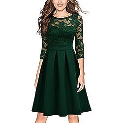 Vintage 1940s Encaje Fiesta Vestidos para Mujer Verde Small