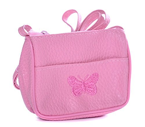 Style Nuvo Klein Süße Mädchen, Kleinkind Butterfly Bestickt Handtasche Portemonnaie - Rosa (Bestickte Rosa Handtasche)