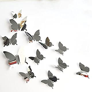 squarex Stickers, 12PCS Butterfly Silver Mirror Decoration Home Room Art 3D DIY Wall Stickers (Silver)