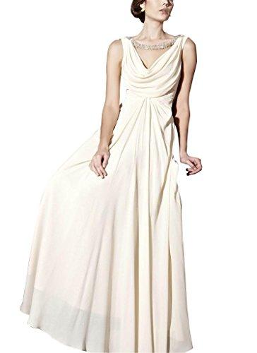 GEORGE BRIDE Spalte V-Ausschnitt bodenlangen Chiffon Abendkleid mit Perlen Applikationen Elfenbein