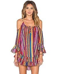 Sasstaids Frühling und Sommer heißes Kleid,Sexy Damen Sommer Rainbow Print  Fransen Strandkleid Lose Chiffon 75f26ab596
