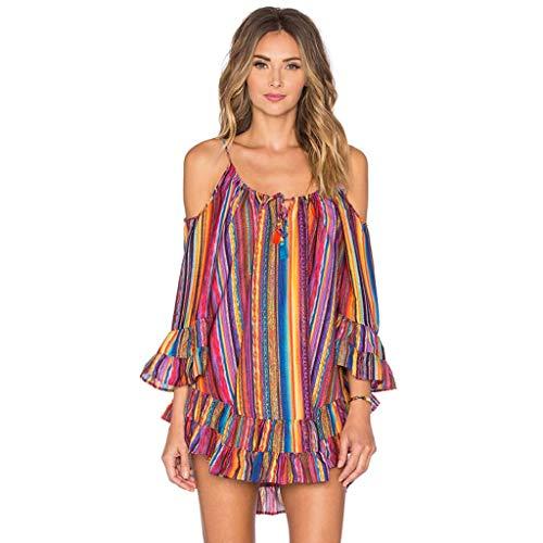 Batik-print Rock (Sasstaids Frühling und Sommer heißes Kleid,Sexy Damen Sommer Rainbow Print Fransen Strandkleid Lose Chiffon Kleid Böhmischer Rock Kleid)