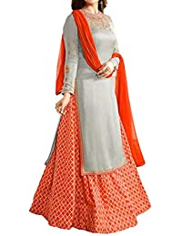 Divyansh Boutique Women's Grey Color French Crepe Semi Stitched Indo Western Salwar Suit And Duptta