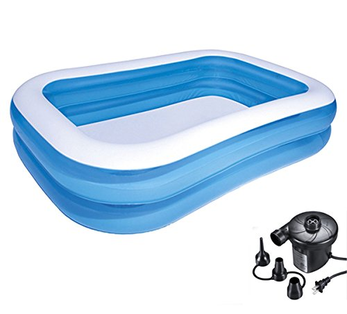 DMGF Inflable Piscina Familia Piscina Centro de Juego Gigante Rectangular Piscina con Bomba de Aire eléctrica de Verano niños pataugeoire para Adulto Kid 103x 69x 20Pulgadas Azul