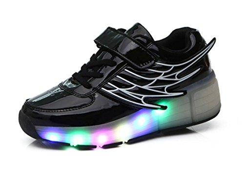 Mr.Ang Skateboard Schuhe Jungen und Mädchen Kinder Wanderschuhe neutral Kuli Rollschuh Schuhe mit LED 7 Farbe Farbwechsel Lichter blinken Skateboard Lnline Sneaker Einzelnes Rad Schuljunge (Outfits Disco Kinder)