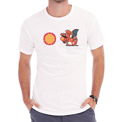 Pokemon Charizard Dragon Fire Flying Sun Herren T-Shirt Weiß