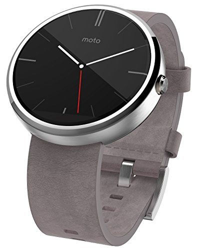 Motorola Moto 360 Stainless Steel Smartwatch and Heart Rate/Activity Tracker with Bluetooth Connectivity Compatible with Android 4.3+ Smartphones -Grey Leather