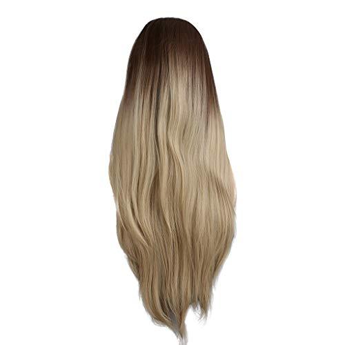 Echthaar Lace Wigs für Frauen,Rifuli® Blond Ombre Brown Lace Front Perücke lange gerade zweifarbige synthetische Naturhaarperücken Lange Haare Perücke Womens Zebra Pony