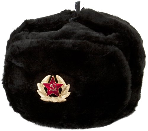 Hat Russian Ushanka Black, with Soviet soldier insignia