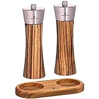 Zassenhaus Pepper & Salt Mill Set Zebrawood, 7.0 Inch, with Stand (Olive Wood) by Zassenhaus Germany