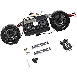 WASTUO Haut-Parleur Moto Audio Système MP3 USB FM Radio Kit 12V Imperméable