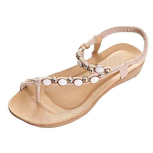 QinMM Frauen Flache Schuhe Perlen Böhmen Freizeit Sandalen Peep-Toe Flip-Flops Schuhe Casual Party Hochzeit Sommer Club Schuhe Stilvolle Schwarz Rot Beige (Chinese 36, Beige)