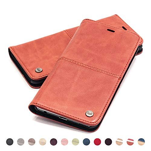 QIOTTI Hülle Kompatibel mit iPhone 8 I iPhone 7 Ledertasche aus Hochwertigem Leder RFID NFC Schutz mit Kartenfach Standfunktion in Rot
