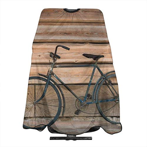Professional Barber Cape Bike Bicycle Wooden House Salon Haircut Aprons Hair Styling Gown For Coloring Perming Hair Cutting Treatment Shampoo Chemical Proof Hairdresser 55