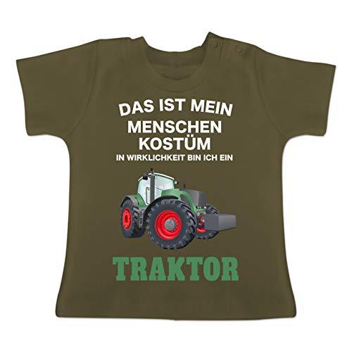Karneval und Fasching Baby - Das ist Mein Menschen Kostüm in echt Bin ich EIN Traktor - 1-3 Monate - Olivgrün - BZ02 - Baby T-Shirt Kurzarm (Kostüm Für Menschen)