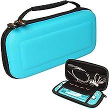 TECHGEAR Switch Lite hoes, harde beschermende draagtas voor reizen en opbergen Case Cover Ontworpen voor Nintendo Switch Lite, 8 slots voor gamekaarten + accessoires Hoesje [TURKOOIS]
