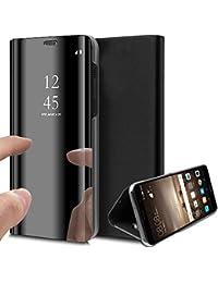 Suhctup Funda Reemplazo para Xiaomi Redmi Note 8 Funda,Flip Tapa Libro Carcasa Modelo Fecha Espejo Brillante tirón del Duro Case Espejo Soporte Plegable Reflectante (Negro)