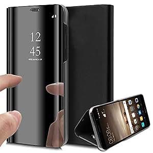 Caler H/ülle Kompatibel OnePlus 6 H/ülle Spiegel Cover Clear View Crystal Case Schutzh/ülle Mirror handyh/ülle handyhuelle etui huelle Flip metallic Frau schal mit Tasche Ledertasche