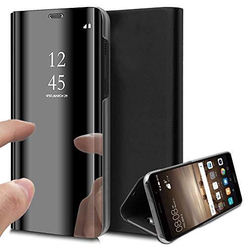 Caler Funda Compatible con Xiaomi Mi 9 SE Espejo Funda Inteligente Cartera Flip Silicona Transparente Funda de Piel Bumper Folio Protector Cubierta Mirror Soporte Shell