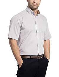 Eterna Comfort Fit Kurzarm kupfer kariert mit Modern Button-Down-Kragen