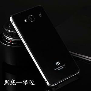 Xiaomi Redmi 2 Case, High Quality Tempered Glass Black Back cover with Silver Aluminium Metal Border Case for Xiaomi Redmi 2