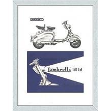 Scooter Stampa D'Arte e Cornice (MDF) Alluminio Spazzolato - Lambretta 150 Ld (80 x 60cm)