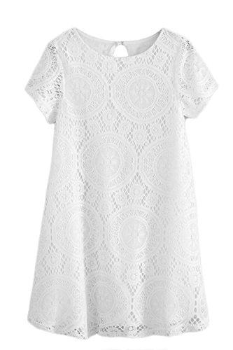 YMING Femme Robe Dentelle Loose Tunique Manche Courte Longue Chemise Midi Robe Blanc