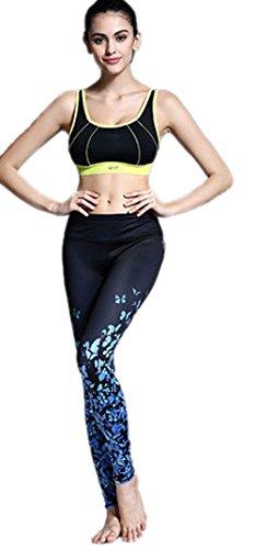 Honeystore 2017 Neuheiten Damen Sport Hose athletische Gymnastik Stoffdruck Fitness Leggings Yoga Hose Blau Schmetterling M