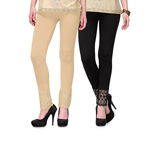 Esszee Women\'s Viscose Lace Leggings, Free Size(Black and Beige, sz-black-beige-plazzolegging-VL01) - Pack of 2