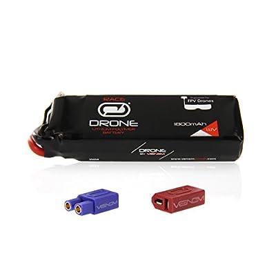 Venom 50C 3S 1800mAh 11.1V Drone Racing LiPo with Universal 2.0 Plug (XT60/Deans/EC3)