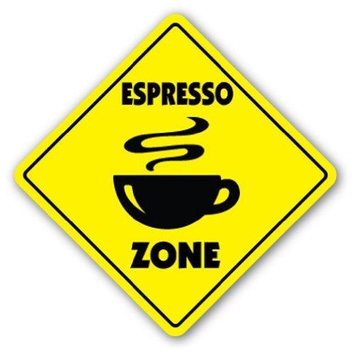 Deko Schilder mit Sprüchen Espresso Zone Schild Neuheit Coffee Creme Mix Supplies Tasse Italienisches Metall Aluminium Wand Sicherheit Schild