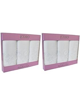 2 Paquetes De 3 Mujer/Mariposa Blanca Encaje Esquina Pañuelos 100% Puro Algodón De Las Señoras De Reglo