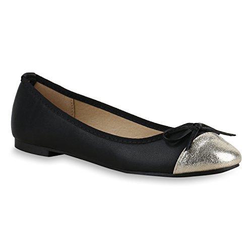 Klassische Damen Ballerinas | Glitzer Ballerina Schuhe Lack | Party Schuhe Zeitschuhe Schleifen | Basic Slipper Flats | Freizeitschuhe Hochzeit Abiball Schwarz Silber