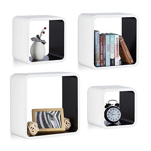 Relaxdays Wandregal Cube im 4er Set, quadratisches MDF Wandboard, belastbares Dekoregal für Wohnzimmer, weiß-schwarz