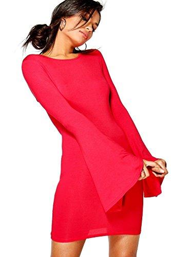 Rot Damen Daphne Bodyconkleid Mit Ausgestellten Ärmeln Rot