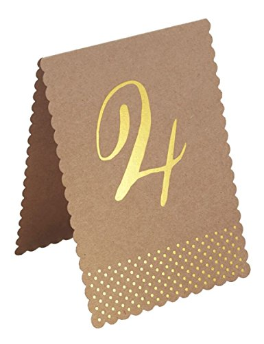 Tischnummern aus Kraftpapier 1-12