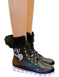 BESTOYARD Botas de Nieve cálidas de Piel de Conejo de Invierno para Mujer  Carga por USB Zapatos radiantes de Colores Zapatos de Nieve… da80390926a08
