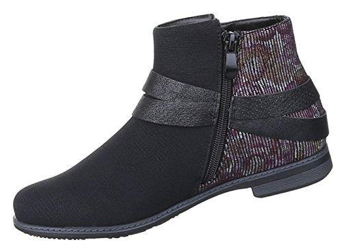 fb16a49123e4 Damen Stiefeletten Schuhe Moderne Boots Schwarz 36 37 38 39 40 41 Schwarz