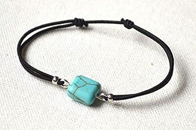 Bracelet cordon noir turquoise