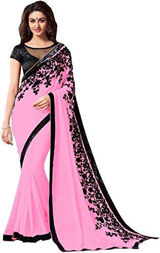 Kamela Saree Georgette Saree With Blouse Piece (Mintopinkcolorsari_Pink_Free Size)