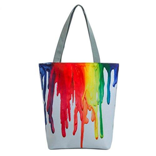 Subfamily® National Wind Canvas Tote Casual Strand Taschen Frauen Einkaufstasche Handtaschen Damentasche Schultertasche Citytasche Modisch, tragbar und praktisch. Kosmetiktasche (Weiß)