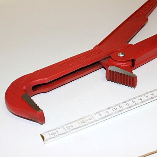 3 ' zoll / 75 mm XXL Eck-Rohrzange / Eckrohrzange / Wasserpumpenzange extra groß, schwedische gerade Form, 90 Grad, Maulöffnung 10 cm, Länge 62 cm lang, Gewicht 2,9 kg, WGB, 10 Jahre Garantie