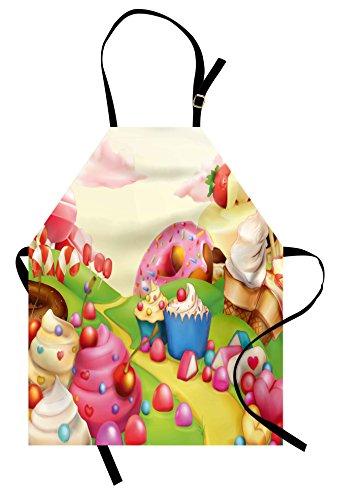 rze mit süßem Lecker-Landschaft von Bonbons Cupcakes Lollipop und EIS Print Unisex Küche Lätzchen Schürze mit verstellbarem Hals zum Kochen Backen Garten Mehrfarbig ()