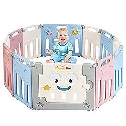 COSTWAY 12 Paneele Laufgitter, Laufstall Baby, Absperrgitter aus Kunststoff, Krabbelgitter, Spielzaun, Schutzgitter mit Tür und Spielzeugboard, für Kinder im Alter von 3 Monaten bis 6 Jahren