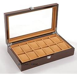 Edler Uhrenkoffer Uhrenbox Schaukasten Uhrenkasten Uhrenvitrine für 12 Uhren aus Holz