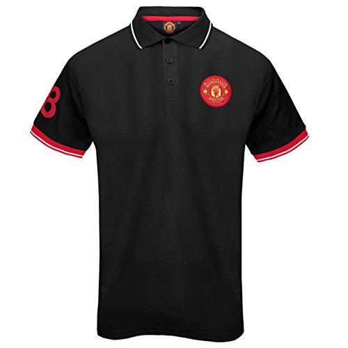 Manchester United FC - Herren Polo-Shirt mit Vereinswappen - Offizielles Merchandise - Geschenk für Fußballfans Schwarz / Weiß