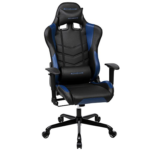 Computer-stühle Armlehnen Mit (Songmics Gaming Stuhl Bürostuhl Schreibtischstuhl Chefsessel mit Armlehnen Rückstellschaum schwarz-blau RCG12BU)